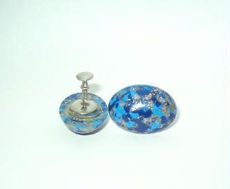 Faux Lapis and Gold Speckled Screw Back Earrings Vintage Estate Find