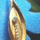 Aurora Borealis Rhinestone Golden Brooch Pin Vintage ~ Estate Find