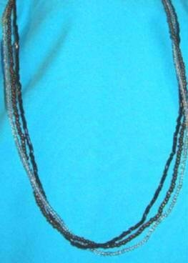 3 Strand 16 inch Necklace Glitzy Beads and Sequins 1970s ~ Estate Find
