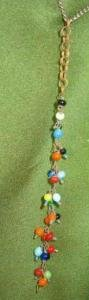 Tiny Beads of Colorful Bakelite Dangling on a Necklace Vintge