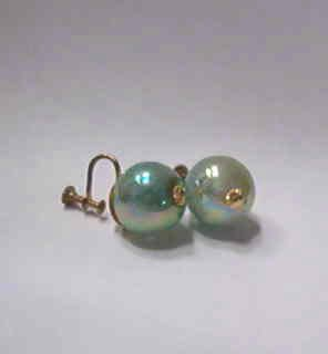Iridescent Screw Back Round Earrings 1950s Marked Japan Estate Find