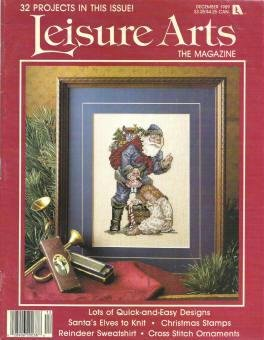 1989 Leisure Arts Holiday Mag 32 Projects Variety Craft Santas Elves, Reindeer Sweatshirt, Ornament