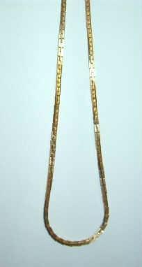 15 inch Squared Snakelink Gold Tone Choker Necklace Estate Find