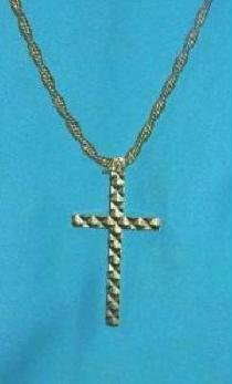 Gold Cross with Rope Chain Included 12Kgf Highly Textured Classic Design Estate Find
