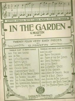 In the Garden Music by G Martin 1919 Easy Sheet Music for Children