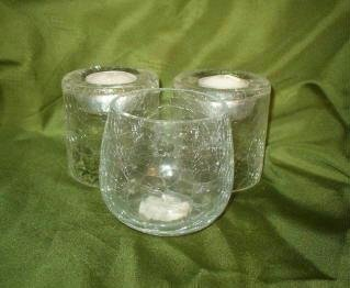 Three Ambria Candle Corp and Gorgeous Designs Crackle Glass Tea Lite Lot