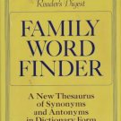 Family Word Finder Thesaurus Synonyms Antonyms Hardcover 1975 Readers Digest 0895770237