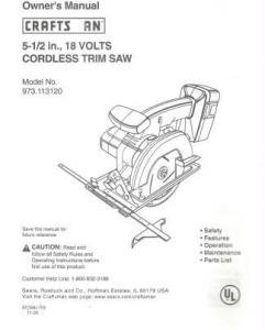 Craftsman Owners Manual for 5.5 18 V Cordless Trim Saw - As New - Clean
