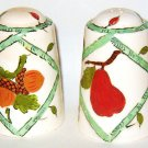 Fruit and Acorn Hand-painted Salt and Pepper Shakers - Japan Label Vintage Green Stamped
