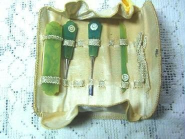Celluloid Manicure Set marked Douda Czech Includes Leather Pouch - Vintage