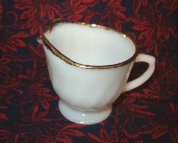 Golden Anniversary Creamer - Fire King Swirl Milk Glass with Gold Trim 1950s Era