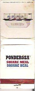 Ponderosa Restaurant Matchbook Square Meal Square Deal Logo