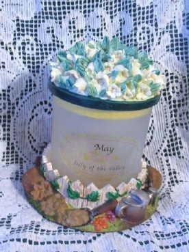 Month of May Floral ~ Gardening Decor Lidded Glass What-not Jar