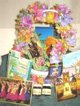 Large Hawaiian Souvenir Basket of Goodies and Treasures Cards Tea Bags Hula Dancer plus