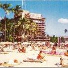 Famous Hawaiian Village Hotel and Beach 1960s Vintage Postcard Unused