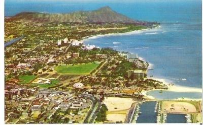 1960s Aerial view of Waikiki Area Vintage Postcard Diamond Head Unused