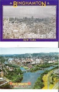 Two Binghamton N Y Aerial View Postcards Summer and Winter Seasons Unused