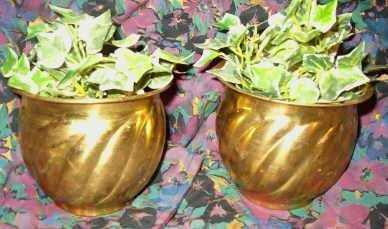 Set of Two Life Like Ivy Plants In Brass Copper Tone Planters