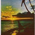Sunset at Waikiki Hawaii Postcard 1960s Vintage Clean and Unused