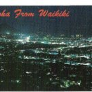 Aloha From Waikiki Nighttime Aerial View 1960s Postcard in Color Unused