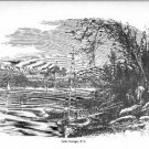 Lake George NY 8x11 Reproduction Black and White Drawing on Thick Board New but Vintage