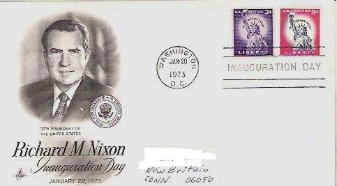 Richard Nixon Inaugural fdc Jan 20, 1973 w/ 3 and 11 cent Liberty Stamps