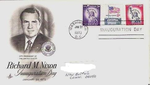Richard Nixon Inauguration Day fdc Jan 1973 - 3 and 8 and 11 cent Stamps
