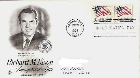 Richard Nixon Inauguration Day 1/73 - fdc - Two Five Cent Flag Stamps