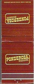 Ponderosa Steakhouse Matchbook Color Brown - 20 Strike Unused