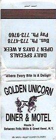 Golden Unicorn Diner and Motel in New York Matchbook Unused