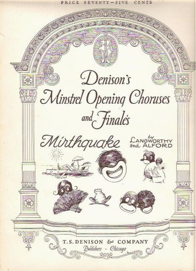 Denisons Minstrel 1928 Sheet Music Choruses for Mirthquake