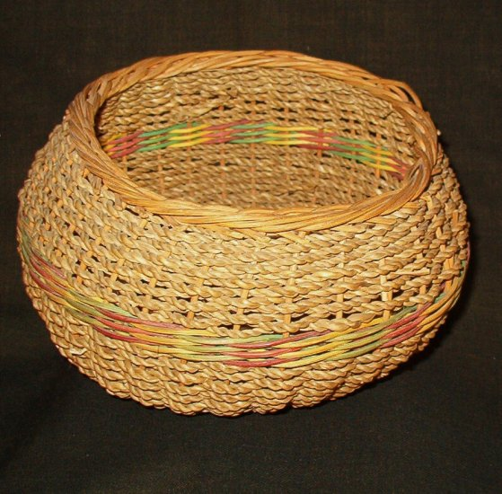 Small Round Wicker and Rope Sewing Basket Vintage