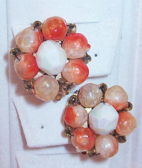 Peaches and Cream Wire Strung Earrings Marked Hong Kong Vintage