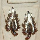 Vintage Leaf or Feather Motif Clip On Earrings Silvery Pewter Color Exc Cond