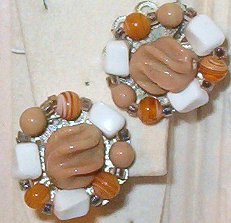 Acrylic AND Bead Clip-On Earrings Taupe Orange and White - Vintage Japan
