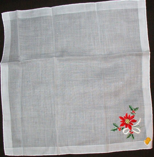Hoefgen Handkerchief Hankie Vintage but New with Label Poinsettia
