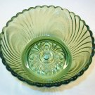 Green Glass Berry Bowl Swirl and Ribbed Design Vintage in Exc Condition