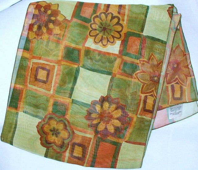 Ladies Scarf 1970s Vintage Orange Gold Green Flower Power 60 x 10