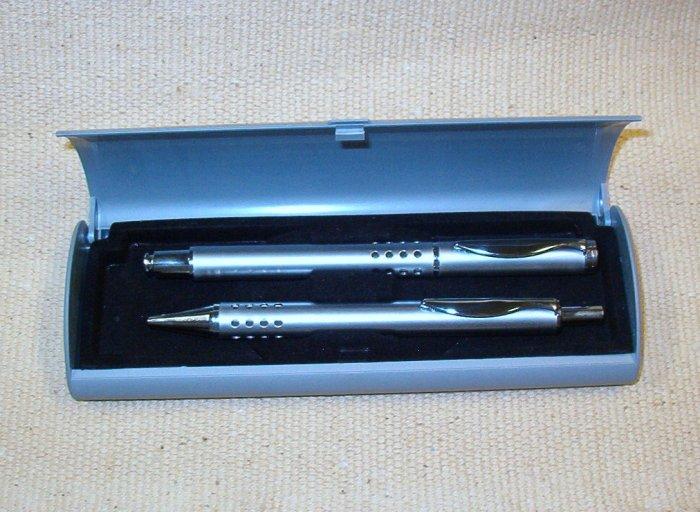 Chrome Pen Set with Snap Shut Box Older Unused Modern Design