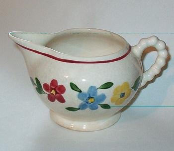 Antique Creamer Rope Bubble Design Handle Hand Painted Flowers