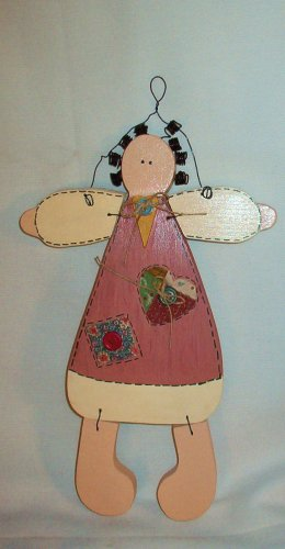 New: Handcrafted Wooden Doll for Girls Bedroom 14 Inches Tall Wall Decor