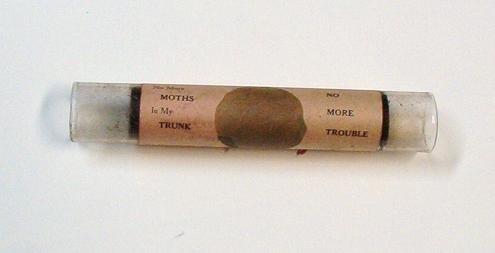Meeker No More Moth Glass Tube - Kills Moths Pat 1910 - Antique
