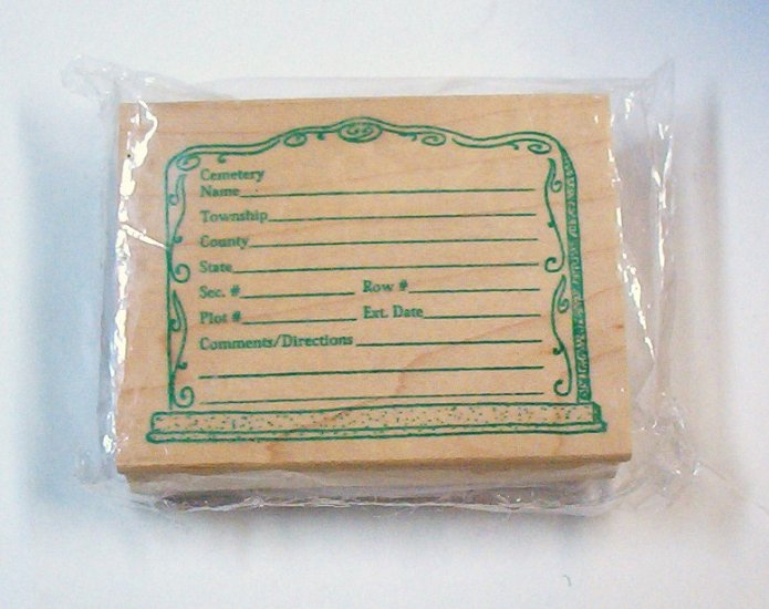 Cemetery Rubber and Wood Stamp Gather Gravestone Info New in Package