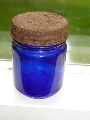 Vintage Cobalt Blue Vicks Vaporub Jar with Screw on Lid