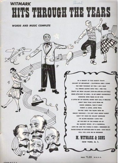 Hits Through the Years Song Book Compiled by Witmark 1951