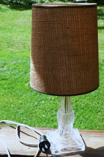 Antique Clear Cut Glass Electric Lamp Diamond Pattern