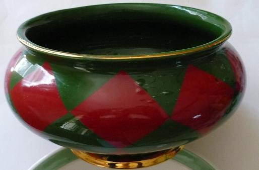 Decorative Holiday Planter Bowl in Green Red and Gold