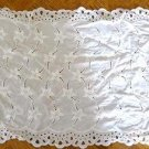 Vintage White Table Runner w/ embroidery eyelet cutwork