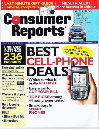Consumer Reports Mag Jan 2007 Shopping Online Washers Dryers Ipod No Label