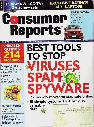 Consumer Reports Magazine Sept 2006 Nursing Homes Cereals Sleeping Pills Spam